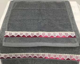 Decorative Gray with Burgundy and Lace trim towels