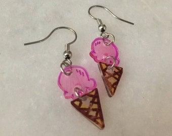 Ice Cream Shrinky Dink Dangle Earrings