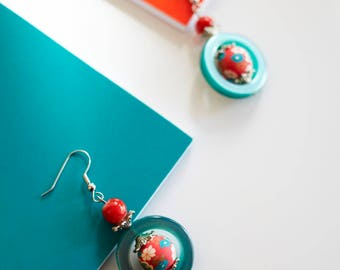Statement chandelier earrings in turquoise and Red