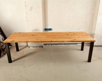 Table, dining table, conference table made of oak wood and steel