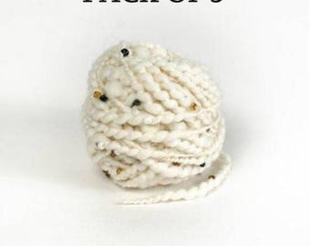 Beaded Merino Slubby Wool, Handspun yarn with beads, Wool pack of 5 Balls, Natural Undyed Wool Gift for Knitter, Crochet Wool for Crafter
