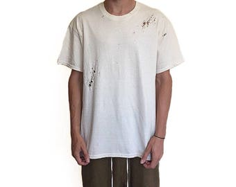 The Distressed T-Shirt - Off White / Oversized Vintage Tee's / faded cream white / Loose Fitted Street Compton Fashion Feel / Relaxed Fit