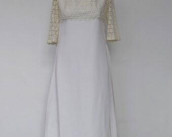 "A Vintage Dress - ""Flora"" 1960's Vintage Full Length Bridal Gown."