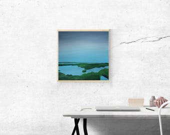 12x12 Acrylic Painting on Gallery Wrapped Canvas of Marsh Ocean Intracoastal Scene