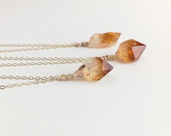 Raw Citrine Necklace November Birthstone Necklace November Birthstone Jewelry Raw Crystal Choker Necklace Gold Citrine Pendant Wire Wrapped
