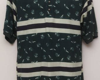 "Rare 90's Vintage ""BUGLE BOY"" Patterned Polo Shirt Sz: MEDIUM (Men's Exclusive)"