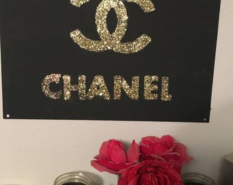 Handmade Chanel Canvas Glitter painting