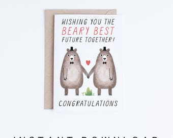 Printable Wedding Cards, Digital Congratulations Cards, Gay Marriage Card, Gay Wedding Cute Bears, Groom and Groom Instant Download