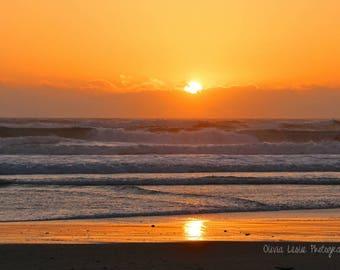 Sunset Waves Photo, Beach, Pacific Northwest, Lincoln City, Oregon Coast, Wall Art