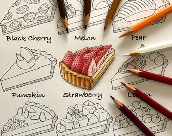"""Coloriage,Coloring page,""""Deliciouse tart""""colobombo art"""