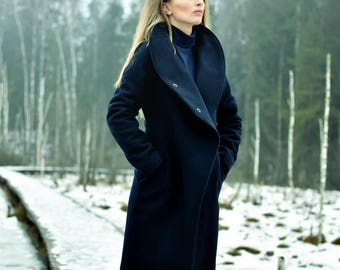 Wool coat women, asymmetric coat, elegant coat, navy coat, high neck coat, women coat, high funnel caot, wool, fully lined coat,