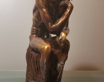 Hand Carved Thinking Man Wood Sculpture