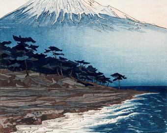 "Japanese Art Print ""Mt. Fuji from Hagoromo"" by Okada Koichi , woodblock print reproduction, Japan, cultural art, landscape, oceanside"