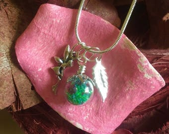 Fairy garden charm necklace - Glitter Filled Glass Orb Necklace