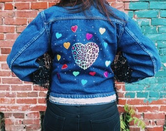 NEW!! Super Sassy Customized Lisa Frank Dreaming Jean Jacket // Youth Large // Adult Small
