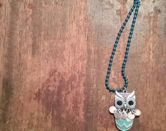 Blue Owl Pendants Necklace