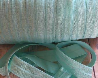 "Fold Over Elastic 5/8"", Aqua FOE, Satin elastic, 1, 5, 10 yards, Headband elastic, Hair tie elastic, DIY headband supply, Stretch elastic"
