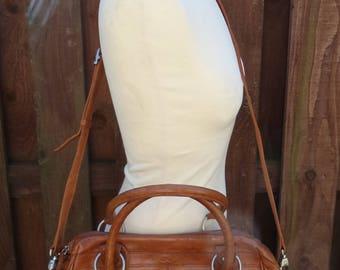 Vintage TONY PEROTTI Multiway Messenger Cross Body Tote Satchel Carry Shoulder Work Bag Superb Oak Brown Leather Hide Harness Purse Case