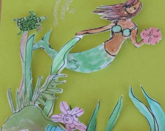 Handpainted Watercolor Mermaid Greeeting Card