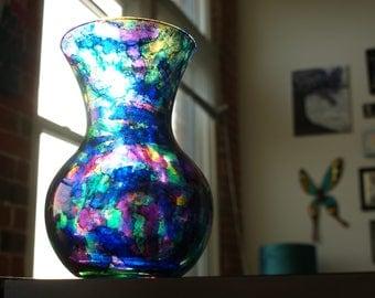 Rainbow Flower Vase, Glass Vase Centerpiece, Flower Vase Glass, Painted Glass Flower Vase, Painted Flower Vase, Painted Vase Glass