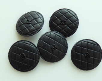 Chanel CC Quilted Buttons CC Black 22mm