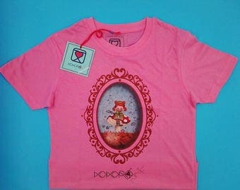 t-shirt girl - kid - pink - mini shopper - button - pin -  doll - mushroom - romantic - cameo - handmade - gift idea - kokoronaif tees