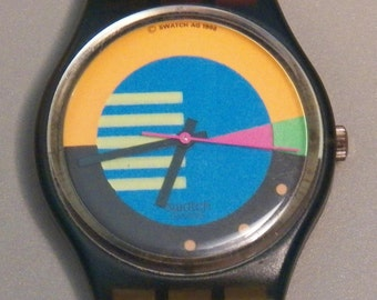 Vintage 1988 Swatch Watch - GN102 Flumotions