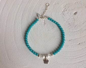 Bracelet with 925 sterling silver beads, turquoise/blue glass beads and 925 sterling silver bead and conclusion