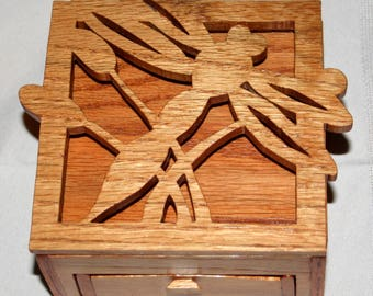 Handcrafted Wooden Box -Custom Made - Dragonfly or Choose Your Own Design