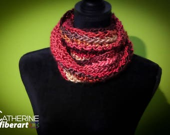 Red Orange Brown Gold Autumn Colors Crochet Infinity Scarf Cowl