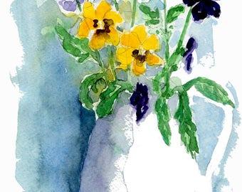Pansies, watercolor print