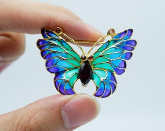 Lovely Garnet with Ruby Butterfly Enamel Brooch 14k Yellow Gold Plated