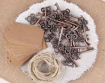 Vintage Key Bottle Openers with Tags & Twine, Skeleton Keys, Wedding Decorations, Party Favors, Antique Bronze Rustic Victorian Steampunk