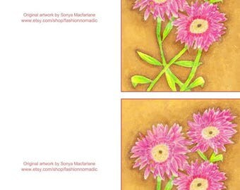 Printable flower note card