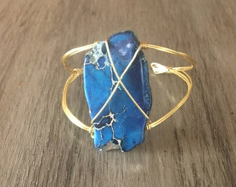 Blue Rustic Stone and Gold Bracelet