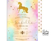 Unicorn Birthday Invitation / Rainbow Unicorn Invitation / First Birthday Invitation / Rainbow Birthday Invitation / Colorful Gold Modern