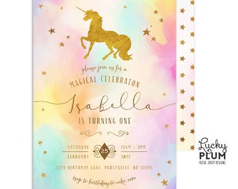 Unicorn Birthday Invitation / Rainbow Unicorn Invitation / First Birthday Invitation / Rainbow Birthday / Colorful Gold Modern UC02