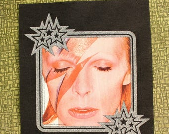 David Bowie Aladdin Sane heat press transfer iron on for t-shirts, sweatshirts . silver glitter border