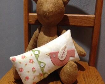 kit; sweet bird pillow, cotton and wool