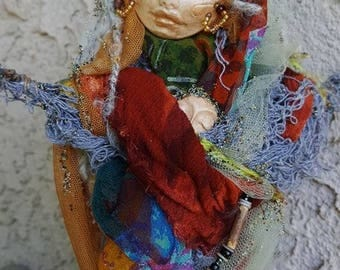 Ooak art doll, Cottage shic decor, IsChel Rainbow Goddess, Bohemian Art Dolls, Wedding Gift, Mother's Day Gift,  Nurturing Spirit