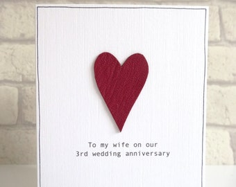 3rd Anniversary Card - romantic personalised leather wedding anniversary card - genuine red leather heart - husband wife - free uk delivery