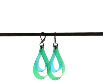 DROP earrings, color key, green and blue