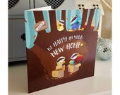 New Home badger greeting card