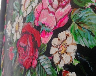 Dark Florals, Original Painting, Textural, Joy, Bohemian, Art, Cheery, Rustic, Wall Art, Home Decor, Cottage Decor, Black