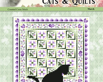 Cats And Quilts March Original Counted Cross Stitch Pattern by Pamela Kellogg