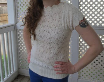 Dainty Cream Scalloped Edge Short Sleeve Knit Sweater - Size Medium