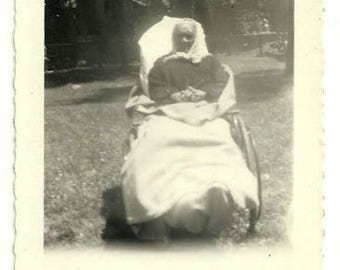 African American woman elderly disability wheelchair black americana aging vintage photo