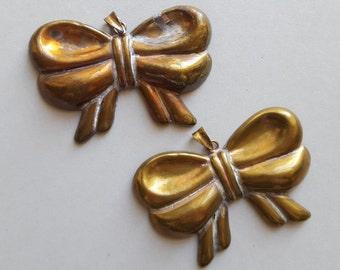 Vintage large brass ribbon bow pendants