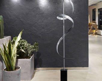 Silver Indoor Outdoor Abstract Metal Sculpture, Freestanding Modern Metal Art, Contemporary Statue - Silver Ribbon Dancer by Jon Allen