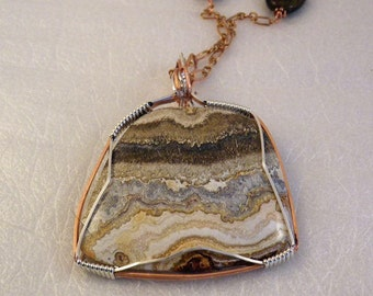 Sterling silver and Copper Wire Wrapped Pendant Necklace on Copper Chain with Bronzite Beads
